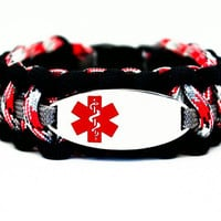 Custom 550 Paracord Bracelet Medical ID - Personalized Engraved Red Stainless Steel Medical ID Bracelet Includes FREE Engraving