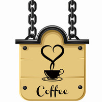 Kitchen Wall Tile Stickers Coffee Cup With Heart Shaped Vinyl Adhesive Wall Decals Creative Wall Stickers