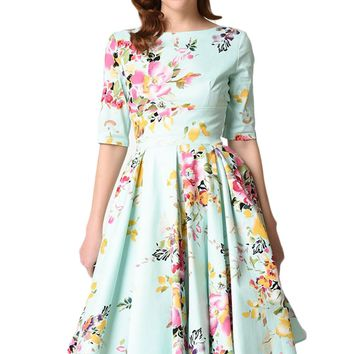 Chicloth Mint Vintage Style Floral Half Sleeve Swing Dress