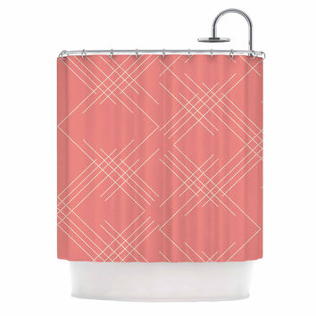 "Famenxt ""All A Blaze Abstract"" Coral Beige Illustration Shower Curtain"