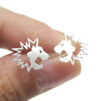 Lion Face Shaped Animal Cut Out Stud Earrings in Silver | Animal Jewelry