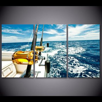 3 Panel Wall Art Panel Picture Blue Sea Deep Sea Fishing Rod Boat Seascape Print