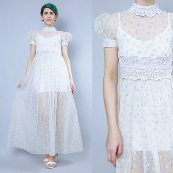 Vintage 60s 70s Sheer Babydoll Dress White Floral Print Dress Puffed Short Sleeve Sheer Floral Maxi Dress Vintage Nightgown Slip Dress (XS)