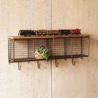 Wire Cubbies With Wood Shelf