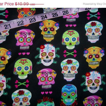 Skull quilting fabric  skeleton cotton sewing material for crafts by the yard 1yd Hi Fashion