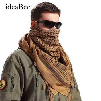 ideacherry 100% Cotton Thick Muslim Hijab Shemagh Tactical Desert Arabic Scarf Arab Scarves Men Winter Military Windproof Scarf