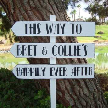 DiReCTioNaL WeDDiNg SiGnS - Happily Ever After WeDDiNg SiGn - Art Deco Style - Art Deco Wedding - 4 ft Stake