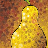 Golden Pear Print from Painting Colorful Yellow Gold Fruit Pears Food Kitchen Gourmet CANVAS Ready To Hang Large Artwork Amber Brown Fun Art