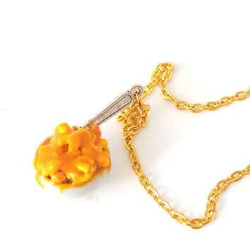 Miniature Mac and Cheese Necklace with silver plated or gold plated chain, Polymer clay Mac and Cheese, Food Jewelry