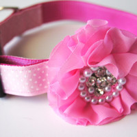 Light Pink Jeweled Flower Dog Collar Attachment