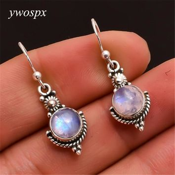 YWOSPX 2018 Vintage Imitation Moonstone Brincos Dangle Silver Color Earrings for Women Wedding Jewelry Boho Statement Earring Y4