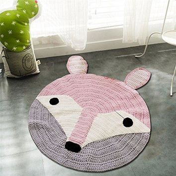 Round Handmade Nursery Area Rugs Soft Knitted Carpet for Baby,Kids Room Decorative Floor Knitting Rugs 31.5x31.5inches(fox)
