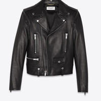 SAINT LAURENT ‎ MOTORCYCLE JACKET IN PLUNGED LAMBSKIN ‎ | YSL.COM