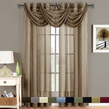 Abri Grommet Crushed Sheer Curtain (Single)