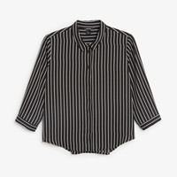 Button up blouse - Black magic/sleek stripes - Shirts & Blouses - Monki GB