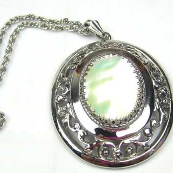 Art Deco Pendant, Mother of Pearl, Whiting & Davis Vintage Jewelry