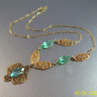 Vintage Art Deco Filigree Lavalier Necklace, Open Bezel Green Crystal
