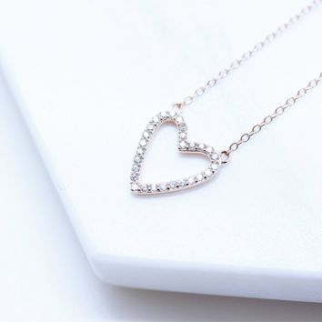 Hollow Open Heart Diamond Simulant CZ Sterling Silver Chain Necklace