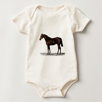 Brown Horse Baby Bodysuit