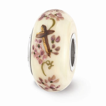 Sterling Silver Reflection Hand Painted Cross & Floral Bead