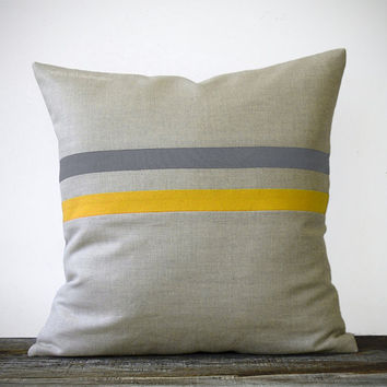 Yellow and Gray Striped Pillow 16x16 Colorful Home Decor by JillianReneDecor - Mustard and Charcoal