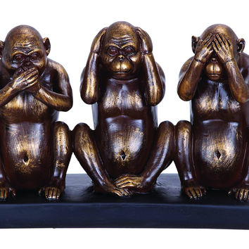 Chimp Speak, See, Hear No Evil Sculpture In Polystone