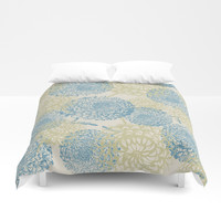 blue and green flowers Duvet Cover by sylviacookphotography