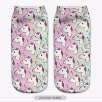 Ombre Unicorn Emoji Socks
