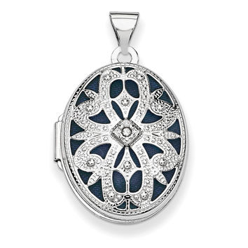 14K White Gold 21mm Oval w/Diamond Vintage Locket XL544