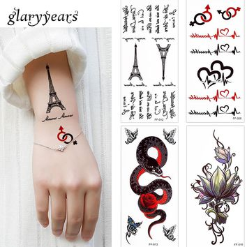 glaryyears 3 Pieces/lot Letter Decal Temporary Tattoo Lotus Flower Body Finger Wrist Art for Women Men Fake Black Tattoo Sticker