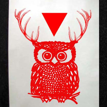 Red Owl with Antlers and Triangle Mixed Media Illustration Art Print for Home Wall Decor