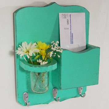 Mail organizer, shabby chic, floral vase, mail holder, key hooks, mail holder, wood, distressed, vintage, home decor,painted Aqua Blue