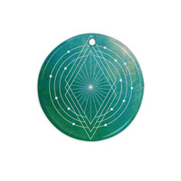 "Matt Eklund ""Atlantis"" Teal Geometric Ceramic Circle Ornament"