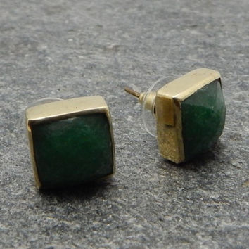 Green Jade Square Stud Earrings
