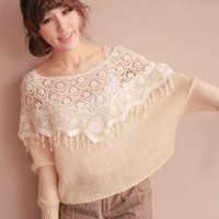 Joyful Hollowed Crochet Flowers Pattern Tassels Decorated Short Cape Tops 2 Colors