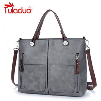 TuLaduo Brand Vintage Lady Handbag Women Designer Shoulder Bags PU Leather Double Pocket Zipper Bags Casual Tote Bags Sac a Main