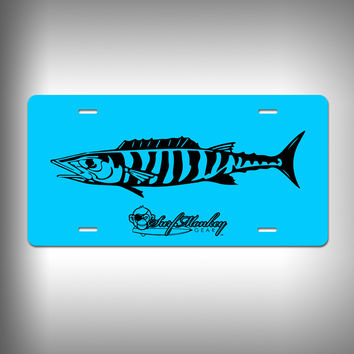 Wahoo Custom License Plate with Custom Text and Graphics Aluminum Front Plate