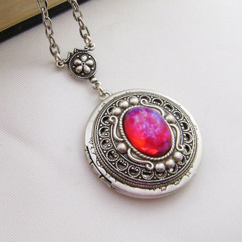Dragons Breath Opal Silver Tone Locket.Antique Style Locket, Mexican Opal Locket Holiday Gift For Her