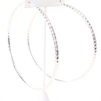 Silver Perforated Thick Hoop Oversize Earrings