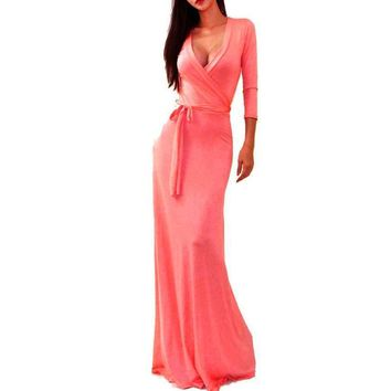 New Women's Dress Summer Autumn Spring Solid V-neck 3/4 Sleeve High Waist Long Maxi Dress Pure Color Sashes