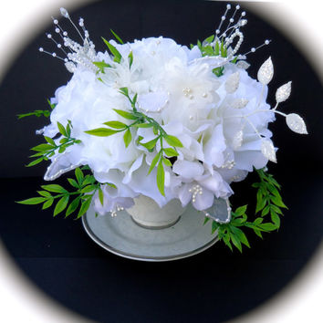 Floral Arrangement in Wedding/Shower Themed Teacup  - White Roses and Petite White Accent Flowers, Shower or Bridal Table Arrangements