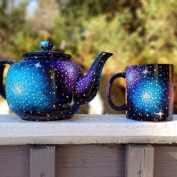 Hand painted galaxy tea pot and mug set
