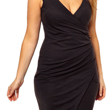 made2envy Wrap Deep V neck Cap Sleeves Front Slit Dress