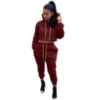Black Cropped Hooded Jogging Suit