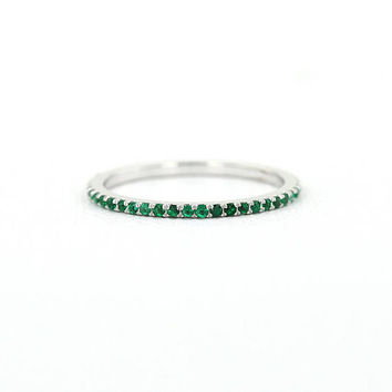 Emerald Eternity Band - Micro Pave Emerald Eternity Band Available as 14k Rose Gold, White Gold or Yellow Gold 1.2MM