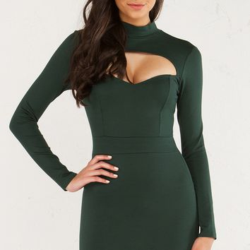 ONE MORE TRY MOCK NECK LONG SLEEVE DRESS