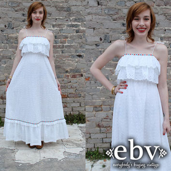 Vintage 70's White Eyelet Hippie Boho Wedding Maxi Dress S M