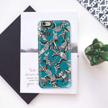 woodland fox party teal blue iPhone 6s case by Sharon Turner | Casetify