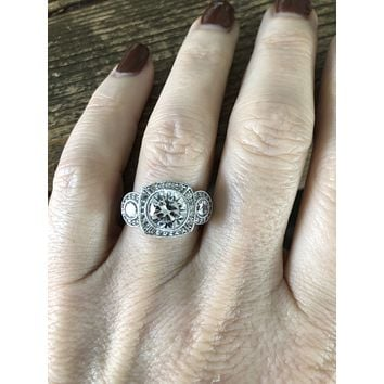 Sample Sale  A Perfect Art Nouveau 1.3CT Round Cut Russian Lab Diamond Journey Ring