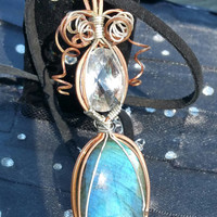 "Beautiful, blue, full flash labradorite cabochon with huge, faceted crystal quartz pendant wrapped in copper and sterling silver 4"" long"